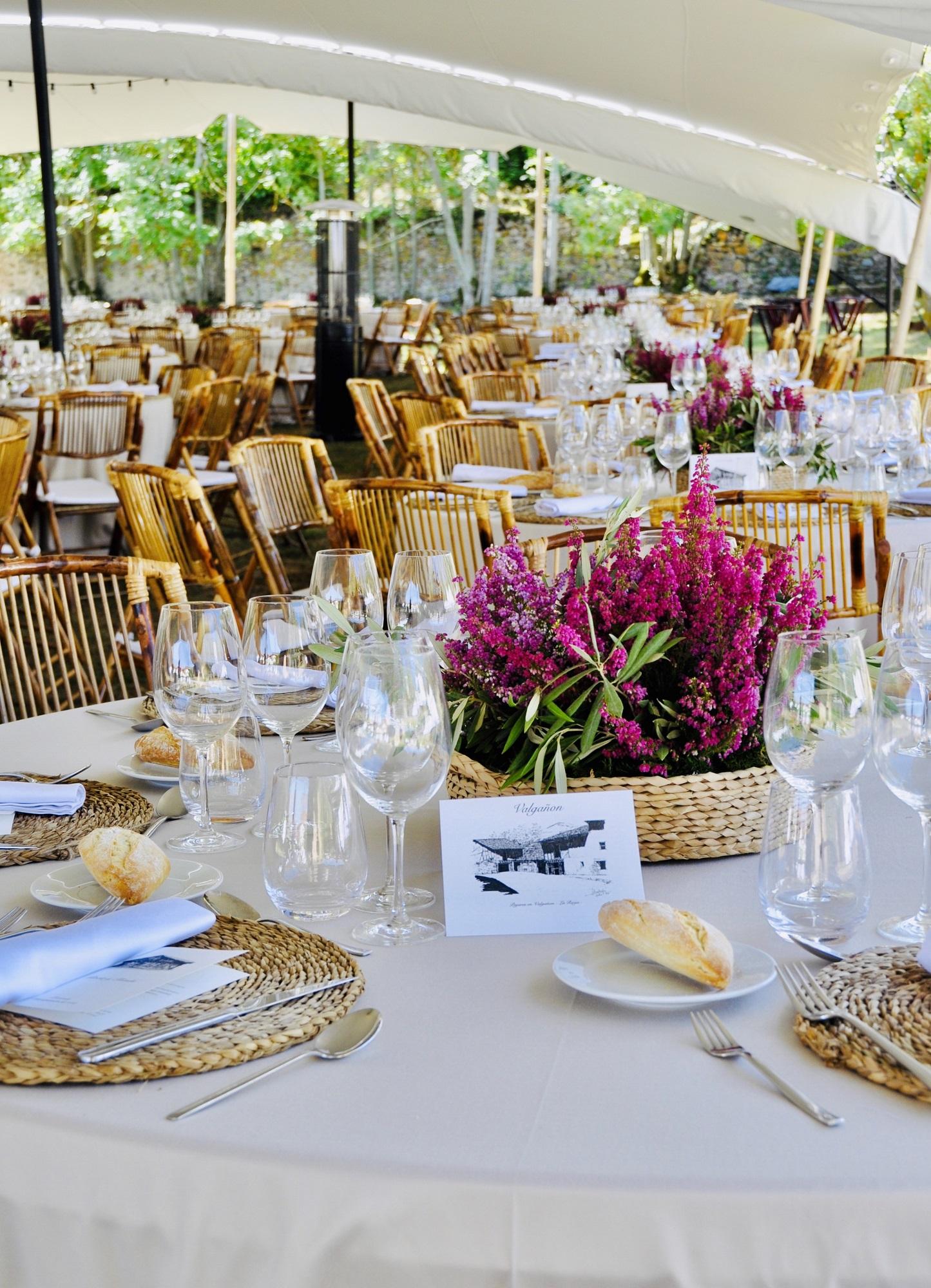 Detalle de la comida en la boda